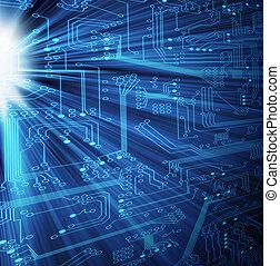 -, technológia, xl, elektronikus
