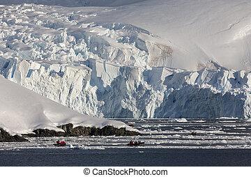 -, természetjáró, paradicsom, antarktisz, öböl, kaland