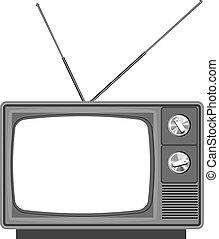 -, tiszta, öreg, ellenző, tv, televízió