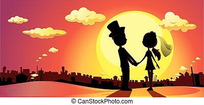 -, vect, árnykép, napnyugta, esküvő