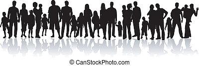 -, vektor, árnykép, család