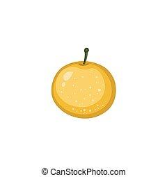 -, vektor, indulat, sárga, gyümölcs