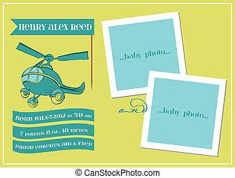 -, vektor, kártya, érkezés, fénykép keret, csecsemő fiú