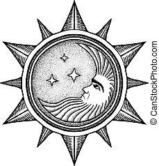 -, vektor, stilizált, metszés, csillaggal díszít, hold, ábra