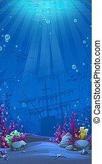 -, világ, háttér, téma, függőleges, tenger alatti, kék