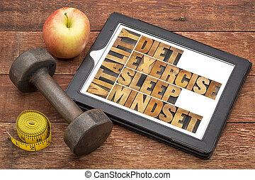 -, vitalitás, diéta, alszik, gyakorlás, mindset