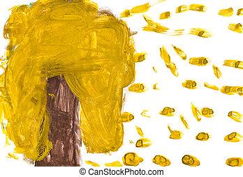 -, zöld, fa, sárga, gyerekek, esés, rajz