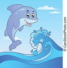 1, delfin, karikatúra, ugrás, lenget