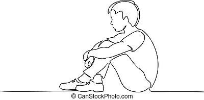 1 fiú, tizenéves, ülés, drawing., egyenes, alone., bús, fiatal