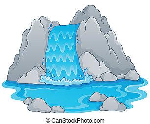 1, kép, vízesés, téma