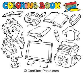 1, könyv, izbogis, színezés, téma