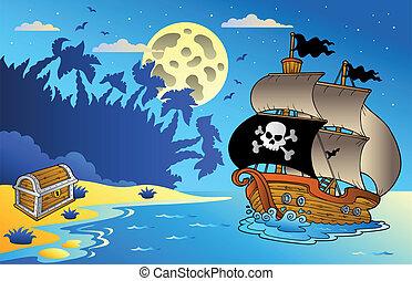 1, kilátás a tengerre, hajó, kalóz, éjszaka