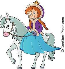 1, lovaglás, tél, ló, hercegnő