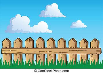 1, téma, kép, kerítés