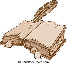1, téma, könyv, öreg, kép