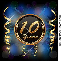 10, év, évforduló, fél