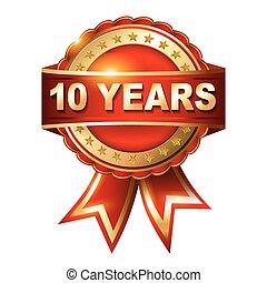 10, év, arany-, évforduló, címke