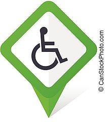 10, derékszögben, tolószék, eps, vektor, zöld háttér, fehér, mutató, shadow., ikon