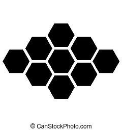 10, eps, háttér., vektor, fekete, fehér, hatszög, ikon