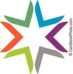 10., eps, sablon, design., ábra, jel, csillag, színes, vektor