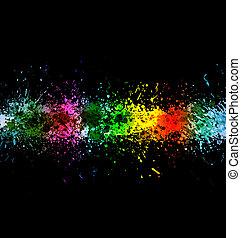 10, festék, szín, eps, splashes., gradiens, vektor, háttér