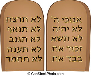 10, illustration., zsidó, shavuot., tóra, parancsolat, moshe., vektor, tabletta, bible., hebrew., ünnep, mózes, covenant.