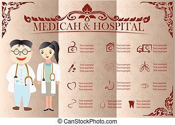 10, &, kórház, ikonok, eps, medicah