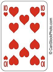 10, piszkavas, játék kártya, szív