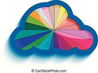 10, színes, eps, sima, felhő, ikon