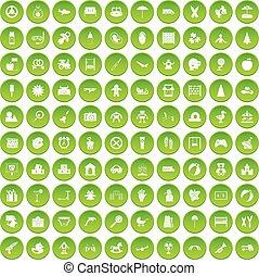 100, állhatatos, zöld, gyermekkor, ikonok