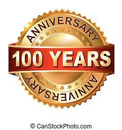 100, arany-, évforduló, címke, év