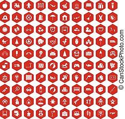 100, hatszög, gyermekkor, piros, ikonok