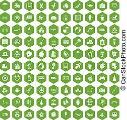 100, hatszög, zöld, gyermekkor, ikonok