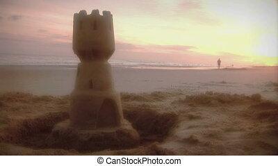 (1006), tengerpart, napkelte, shoreline, kocogó