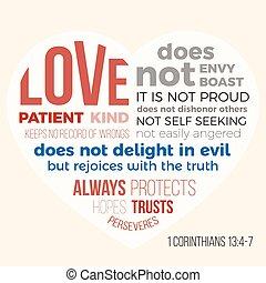 13, biblia, szeret, 4-7, 1, vers, corinthians, türelmes, evangélista