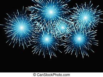 1411, háttér, kék, tűzijáték