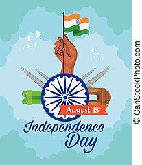 15, nyelvemlékek, chakra, hagyományos, augusztus, szabadság, indiai, boldog, ashoka, ünneplés, nap
