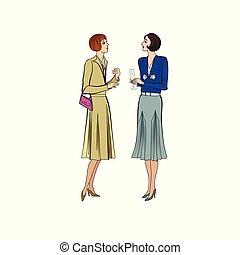 1930's., ruha, mód, nők, beszélgetés, buli., retro, szüret, két