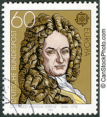 1980, bélyeg, -, matematikus, filozófus, gottfried, leibniz, vilmos, németország, nyomtatott, 1980:, cirka, (1646-1716), látszik