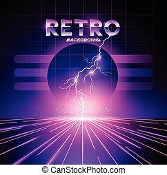 1980's, retro, háttér, villámlás