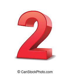 2, fényes, szám, piros, 3