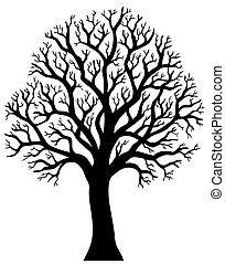 2, fa, kívül, árnykép, levél növényen