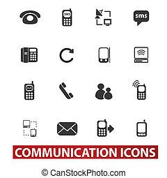 20, ikonok, állhatatos, kommunikáció, vektor, cégtábla