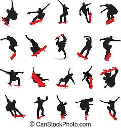 20, skateboarders, árnykép