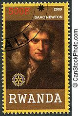 2009:, newton, -, ruanda, portré, isaac, (1642-1727), látszik