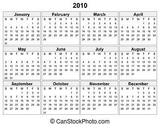 2010, naptár, year.