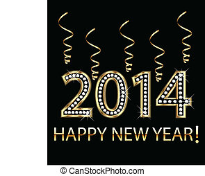 2014, év, boldog, arany, új