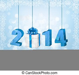 2014!, boldog, új, ábra, template., vektor, tervezés, év