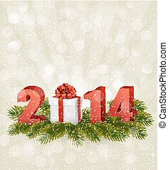 2014!, boldog, új, template., vektor, tervezés, illustration., év
