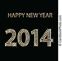 2014, boldog, arany, új, vektor, év
